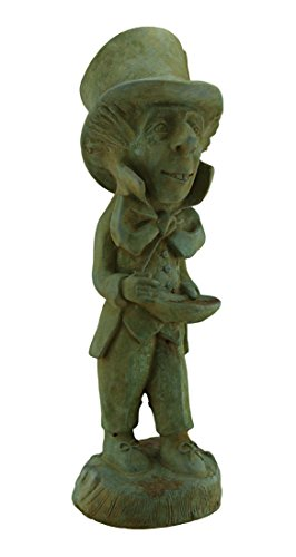 Cheap Zeckos Cement Outdoor Statues Mad Hatter Alice In Wonderland Verdigris Finish Cement Statue 19 In. 6.5 X 19 X 6 Inches Green