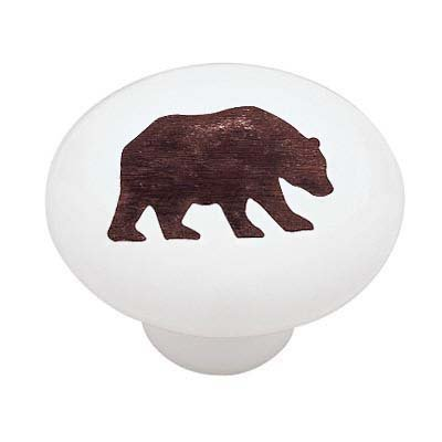 ... Cabinet Drawer Knob · Woodland Bear Silhouette Decorative High Gloss  Ceramic Drawer Knob