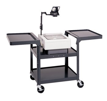 "UPC 717068355750, Da-Lite 29"" High Unassembled Black Overhead Cart with 20"" x 20.5"" Projector Well, 5"" Casters and Electrical Assembly"