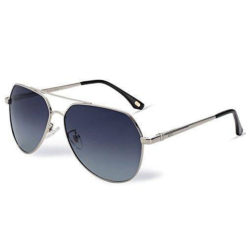 metal en piloto sol de gafas Graded Gray polarizadas gafas TL aviador Hombre UV Mujer plateado400 Sunglasses xA8pvqP
