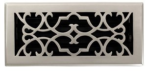 Brass Elegans 120D PWT Solid Cast Brass Victorian 4-Inch by 10-Inch Floor Register, Pewter Finish Model
