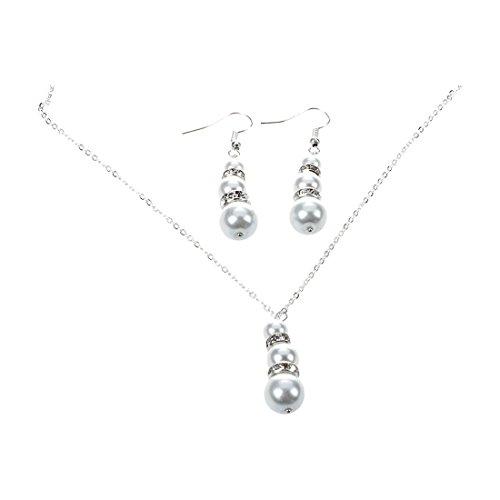 Necklace and earring - TOOGOO(R) Set Strass Round Nacre Pearl Necklace Earrings Silver Plaque White (Rings Strass)