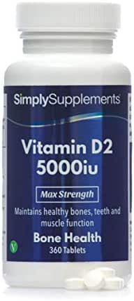 Vitamin D2 5000iu for Immune Health & Strong Bones | 360 Tablets = Up to One Year Supply | Vegan Friendly