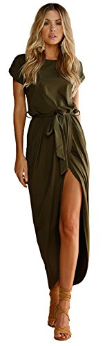 Longwu Women's Casual Beach Club Maxi Dresses Summer Party Long Dress Army Green-L