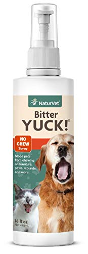 NaturVet - Bitter Yuck - No Chew Spray - Deters Pets from Chewing on Furniture, Paws, Wounds & More - Water Based Formula Does Not Sting or Stain - for Cats & Dogs (16 oz)