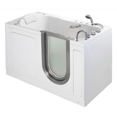 "55"" x 30"" Deluxe Massage Whirlpool Walk In Tub Door and Drain Location: Right"
