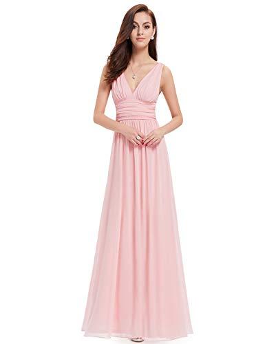Ever-Pretty Womens Empire Waist Sleeveless V Neck Evening Party Dress 18 US Pink ()