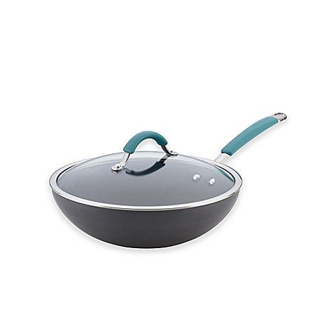 Rachael Ray Cucina Hard-Anodized Nonstick Covered Stir Fry Pan, 11-Inch, Gray, Agave Blue Handles by Rachael Ray