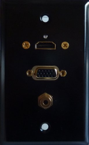 Satin Black Stainless Steel Wall Plate with Gold Plated HDMI, VGA (HD15) & 3.5mm Stereo Jacks; 75-813G