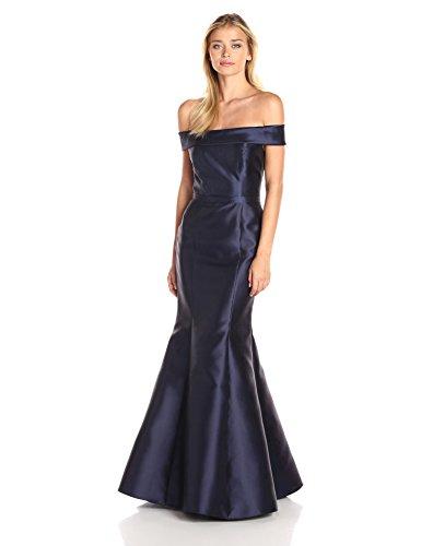 Xscape Women's Long Mikado Off The Shoulder Mermaid Gown, Navy, 4