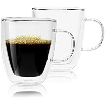 Glass Coffee Mug by Bocussi | Set of 2-12 Ounce Insulated Double Wall Mugs | Longer Lasting, Perfect for Espresso, Tea, Hot Chocolate, Water & More