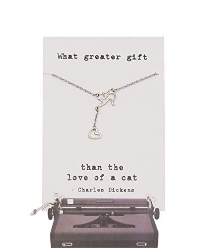 Quinnlyn & Co. Cat with Hanging Heart Pendant Necklace, Handmade Gifts for Women with Inspirational Quote on Greeting Card
