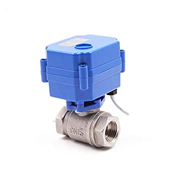 HSH-Flo Motorized Ball Valve AC//DC12V 1 SS304 Normally Closed Electrical Ball Valve CR-05 1 CR-05 Stainless steel