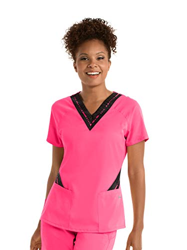 Grey's Anatomy Active GVST017 Women's Zip Text Scrub Top Pink Pop/Ga Pink Pop Print M (Gray And Pink Scrub Tops)
