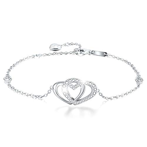 Esberry✦Gifts for Mother's Day✦18K Gold Plated 925 Sterling Silver 5A Cubic Zirconia CZ Double Love Heart Bracelets for Women and Teen Girls (18K White Gold-Love Heart 1) ()