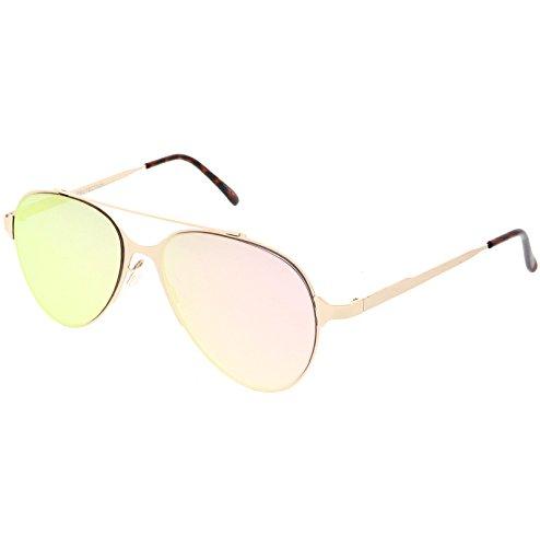 sunglassLA - Ultra Sleek Straight Metal Crossbar Color Mirrored Flat Lens Aviator Sunglasses 56mm (Gold / Pink Mirror - Aviator Mirrored Beckham Sunglasses Victoria