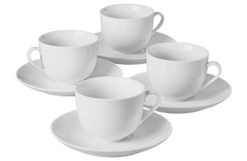 4 Piece Porcelain Tea Cup and Saucer Set - White. Unbranded