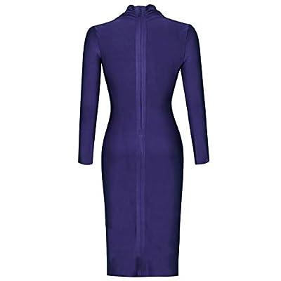 UONBOX Women's Deep Plunge V Neck Long Sleeves Draped Knee Length Bodycon Bandage Dress: Clothing
