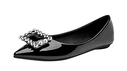 Passionow Women's Cute Pointed Toe Rhinestones Comfort Slip-on Flats