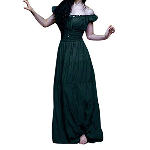 CCOOfhhc Gothic Cosplay Dress-Womens Renaissance Medieval Dress Lace up Irish Long Dresses Retro Gown Halloween Costume -