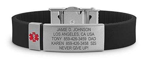 Road ID Medical Alert Bracelet - the Wrist ID Slim 2 and Medical Alert Badge - Personalized Medical ID Bracelet and Child ID - Fits Adults & Kids