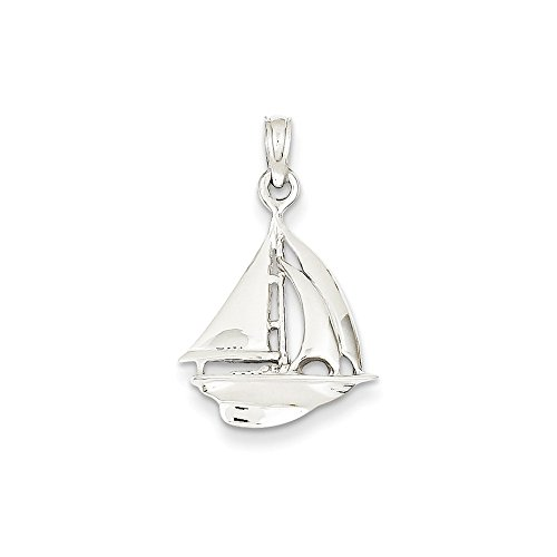FB Jewels Solid 14K White Gold 3-D Sailboat Pendant
