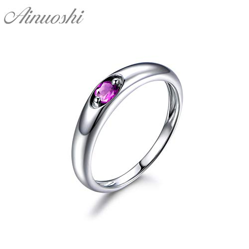 Natural Amethyst Ring | Round Cut 925 Sterling Silver Solitaire Ring | Trendy Engagement Wedding Jewelry | Women Ring (0.25ct) ()
