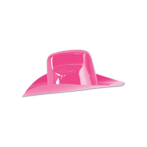 Beistle Packaged Miniature Plastic Cowboy Hats, 81/2 by 3 1/2-Inch, (Cowboys Pink Mini)