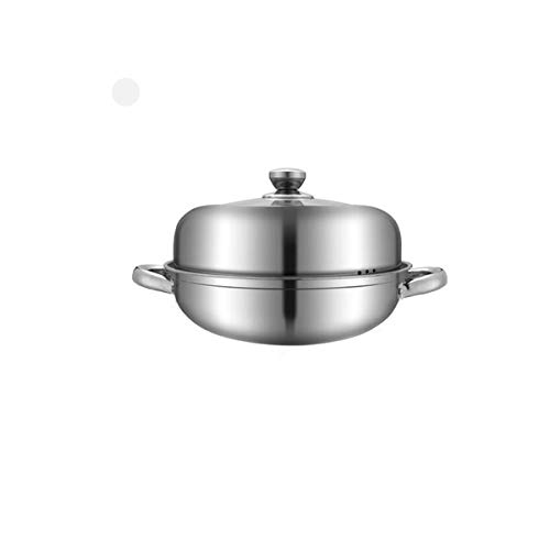 Tongboshi 304 Stainless Steel Soup Pot, Thick Bottom Plate, Steamer, Stockpot, Non-stick Pan, Household Soup Stew Pot, Thickened Bottom, Induction Cooker Gas Universal 11 Inch Binaural Multi-layer -