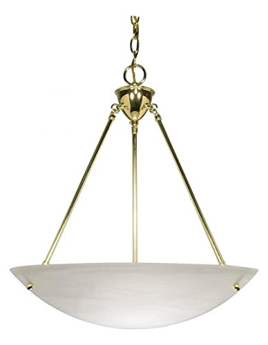 3 Light - 23In. - Pendant - Alabaster Glass Bowl (Bowl Polished Pendant Brass Medium)