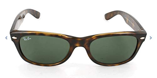 Ray-Ban RB2132 New Wayfarer Polarized Sunglasses, Tortoise/Polarized Green, 55 mm (Ray Ban Eyeglasses Made In Italy)