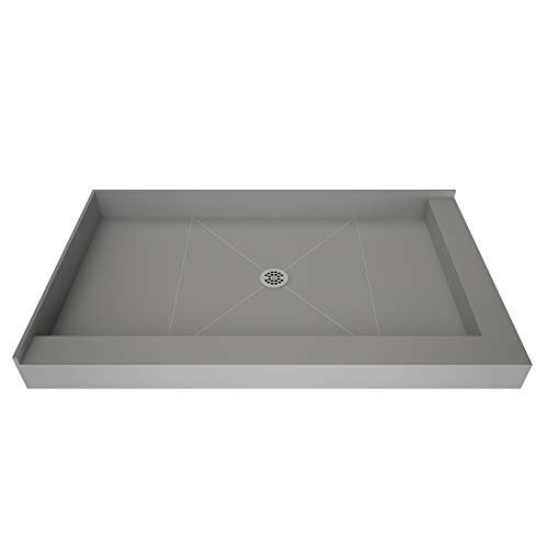 Drain Amazon Center (Tile Redi USA P4860CDR-PVC-22x30-4.5-4.5 Redi Base Shower Pan with Center Drain & Right Dual Curb, 48