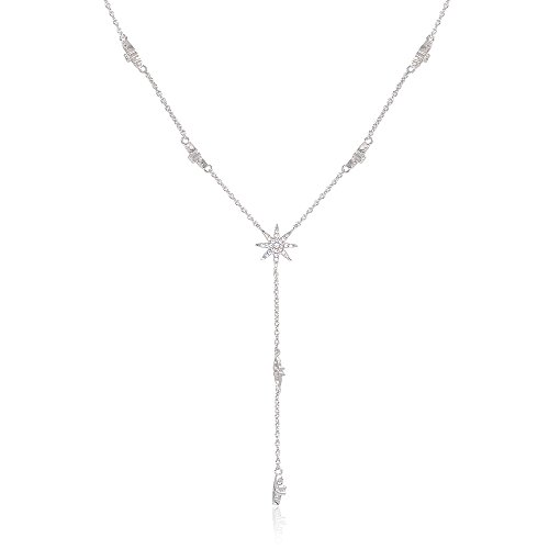 espere Star Drop Y Shaped Lariat Necklace Plated with White - Necklace Star Lariat