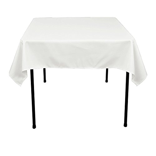 Morlan Linens Tablecloth for Square or Round Tables - 100% Polyester - Restaurant Quality - Great for Buffet Tables, Parties, Holiday Dinners, Weddings & More - White, 52 x 52 inches