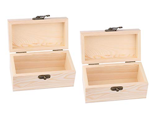 - Unfinished Wood Box, Dedoot 2 PCS Small Wood Craft Box with Locking Clasp Rectangle Wood Box Organizer for Jewelry Box Gift Box Artist Tool and Brush Storage Box, 5.5x2.75x2.87 Inch