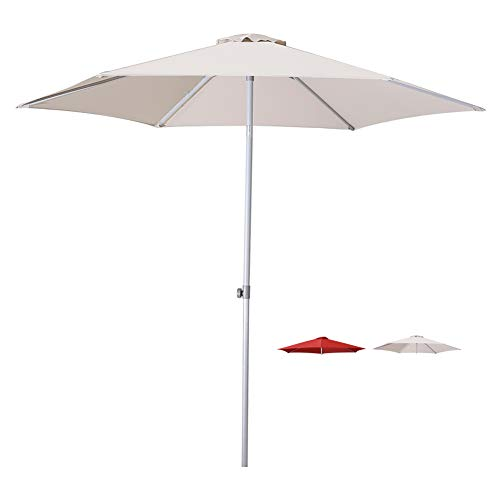 9' Silver Aluminum Pole - Patio Umbrella 9 Ft Outdoor Garden Table Umbrella Adjustable Height with Push Button Tilt,Beige