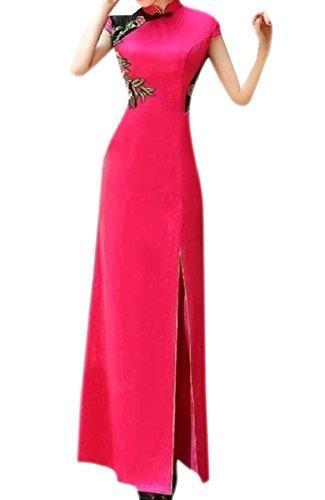 Spaccato Scavano Vestito Cheongsam Premium Fuori Slim Rosa Coolred Dal Rossa Tradizionale donne IqFtwUpF