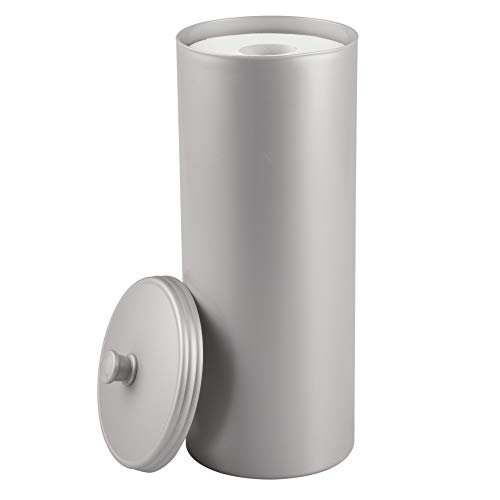 InterDesign Kent Free Standing Toilet Paper Holder – Spare Roll Storage for Bathroom, Silver