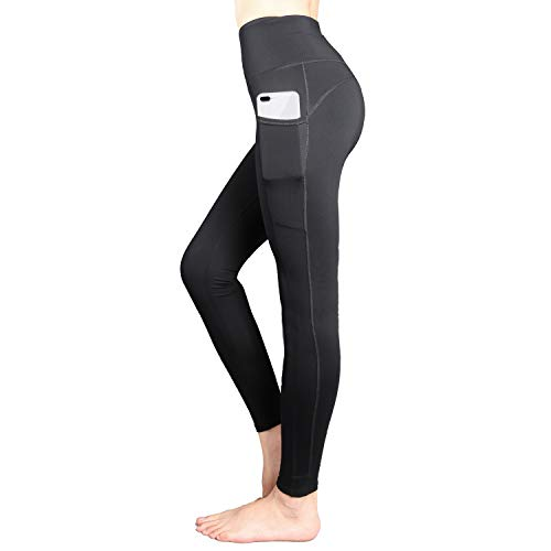 SUPSOO Sports Tights for Women,High Waist Yoga Pants Power Stretch Leggings for Yoga, Running and Kinds of Fitness (Black, M)