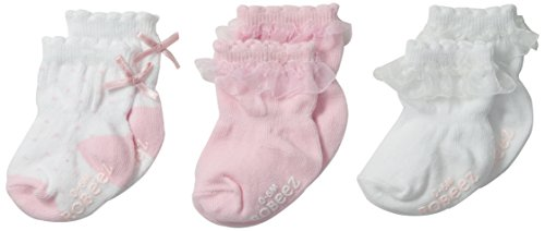 Robeez 3 Pair Socks, Baby Girl Light Pink/White, 0-6 Months