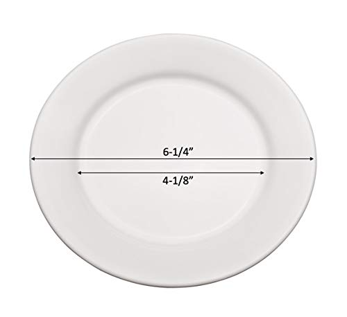 Vitrified Bright White Porcelain B-328 Chef Expressions 6-1//4 Round Bread and Butter Plate Wide Rim Rolled Edge Restaurant Quality Case of 12