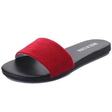 LvYuan Mujer Sandalias PU Primavera Verano Tacón Plano Negro Gris Rojo Pantalla de color Menos de 2'5 cms screen color