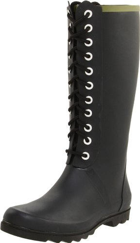 Amazon.com | Chooka Women's Noir Lace-Up Rain Boot, Black, 9 M US ...