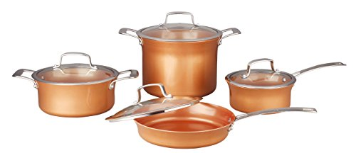 CONCORD 8 Piece Ceramic Coated -Copper- Cookware 2017 BESTSELLER (Induction Compatible) (Rim Concord)