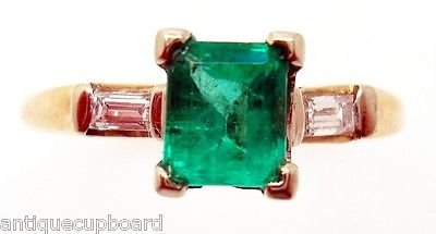 0.63 Ct Diamond (SIMPLE .63CT GENUINE NATURAL EMERALD RING WITH DIAMOND BAGUETTES)