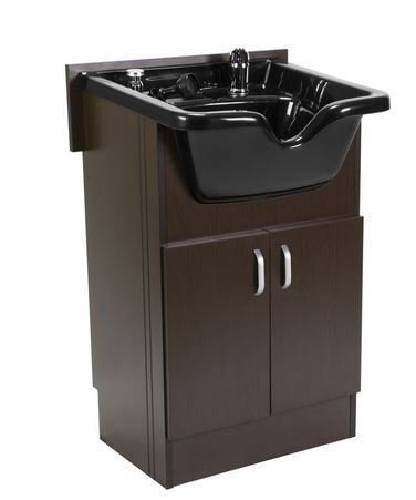 Shampoo Cabinet SANDEN BROWN w Faucet, Bowl, Drain for Beauty Salon and Spa by BERKELEY