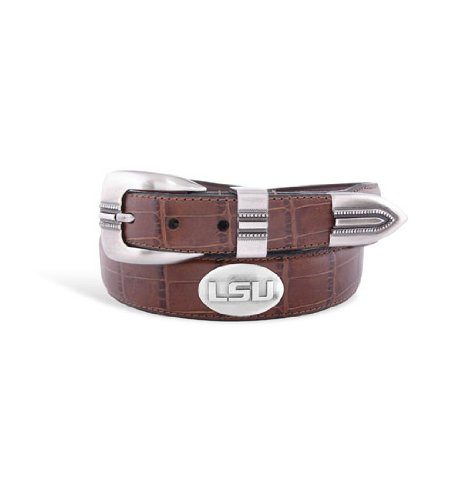 Zeppelin Products Inc NCAA LSU Tigers Crocodile Tip Leather Concho Belt
