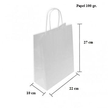 CAJA 200 BOLSAS PAPEL BLANCAS 22+10x24 CM (22+10x27 CM, Celulosa blanco)
