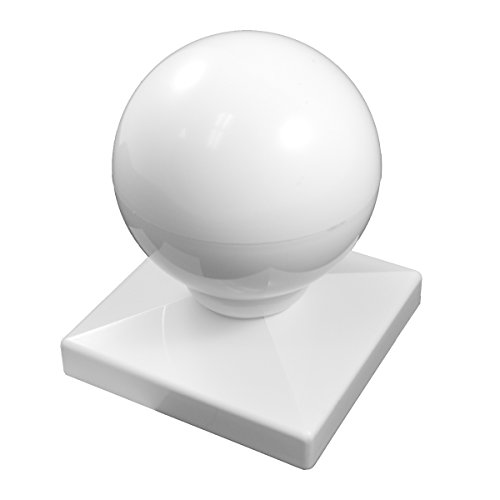 Durable White PVC Vinyl Dome Ball Post Cap For A True 4 Inch X 4 Inch Post | Single Pack | AWCP-BALL-4