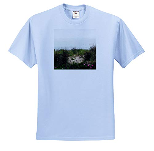 Stamp City - Landscape - Photograph of Dune Grass and Pink Flowers on a Jersey Shore Beach. - T-Shirts - Light Blue Infant Lap-Shoulder Tee (12M) (ts_295268_76)